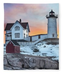 Fiery Sunrise At Cape Neddick Lighthouse Fleece Blanket