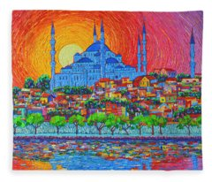 Fiery Sunset Over Blue Mosque Hagia Sophia In Istanbul Turkey Fleece Blanket