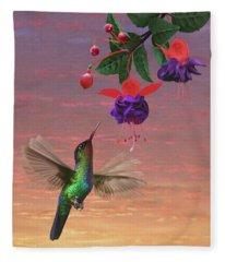 Fiery Throated Hummingbird Fleece Blanket