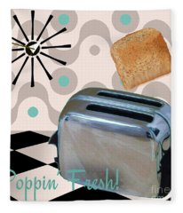 Fifties Kitchen Toaster Fleece Blanket