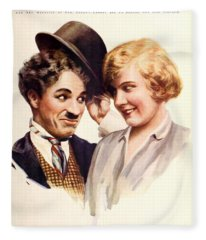 Film Fun Classic Comedy Magazine Featuring Charlie Chaplin And Girl 1916 Fleece Blanket