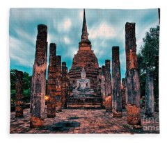 Finding Happiness In Sukhothai, Thailand Fleece Blanket