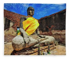 Finding, Not Seeking At Wat Worachetha Ram In Ayutthaya, Thailand Fleece Blanket