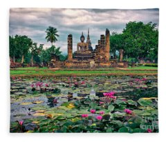 Finding Peace At Wat Mahathat  Fleece Blanket