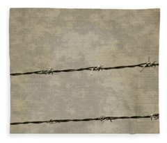 Fine Art Photograph Barbed Wire Over Vintage News Print Breaking Out  Fleece Blanket