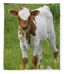 Fine Looking Longhorn Calf Fleece Blanket
