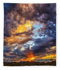 Finger Painted Sunset Fleece Blanket