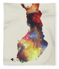 Finland Watercolor Map Fleece Blanket