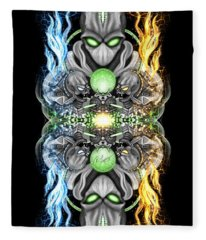 Fire And Ice Alien Time Machine Fleece Blanket