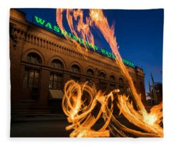 Fire Dancers In Spokane W A Fleece Blanket