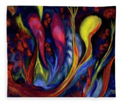 Fire Flowers Fleece Blanket