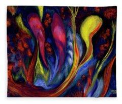 Fire Flowers Fleece Blanket