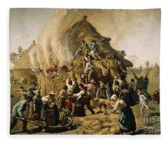 Fire In A Haystack, 1856 Fleece Blanket