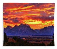 Fire In The Teton Sky Fleece Blanket