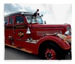 Fire Truck Selfridge Michigan Fleece Blanket