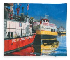Fireboat And Ferries Fleece Blanket