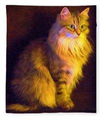 Fireside Feline Fleece Blanket