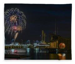 Fireworks And 17th Street Docks Fleece Blanket