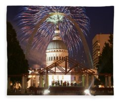 Fireworks At The Arch 1 Fleece Blanket