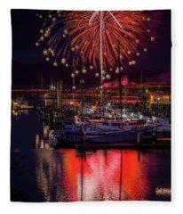 Fireworks At The Docks Fleece Blanket