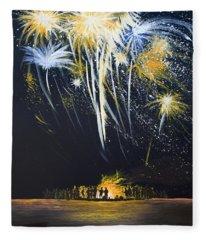 Fireworks Bonfire On The West Bar Fleece Blanket