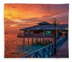 Fireworks Of Colors. Maldives Fleece Blanket