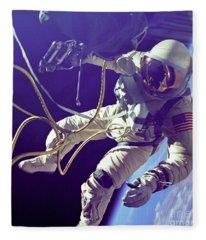 First American Walking In Space, Edward Fleece Blanket