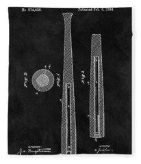 First Baseball Bat Patent Illustration Fleece Blanket