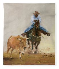 First Bulldogger Bill Picket Oil Painting By Kmcelwaine  Fleece Blanket