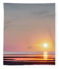 First Encounter Beach Cape Cod Square Fleece Blanket