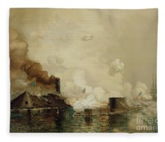 First Fight Between Ironclads Fleece Blanket