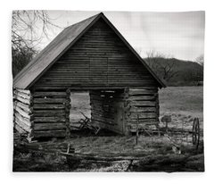 First Light At The Barn In Black And White Fleece Blanket