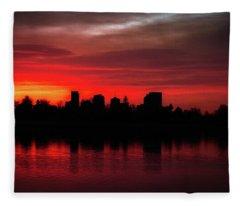 First Light In Denver Fleece Blanket
