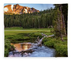 First Light On Lassen From Upper Meadow Fleece Blanket