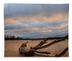 First Light On The Kaw Fleece Blanket