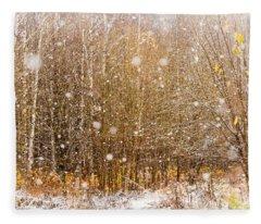 First Snow. Snow Flakes I Fleece Blanket