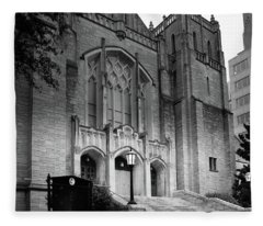 First United Methodist Church Charlotte In Black And White Fleece Blanket