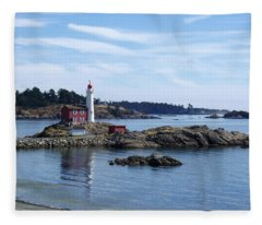 Fisgard Lighthouse Shoreline Fleece Blanket