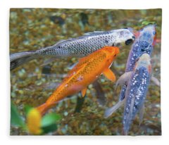 Fish Fighting For Food Fleece Blanket