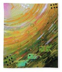 Fish In A Green Sea Fleece Blanket