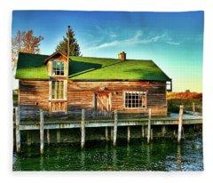 Fish Town Shanty  Fleece Blanket