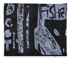 Fisher Covers White On Black Fleece Blanket