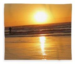 Fisherman At Sunrise Fleece Blanket