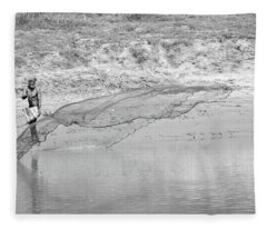 Fleece Blanket featuring the photograph Fisherman On The Lower Ganges by Chris Cousins