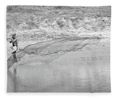 Fisherman On The Lower Ganges Fleece Blanket