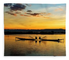 Fisherman On Their Boat Fleece Blanket