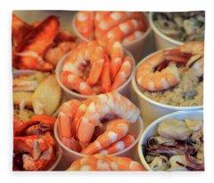 Fishermans Wharf Seafood Delights Fleece Blanket