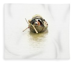 Fleece Blanket featuring the photograph Fishermen On The Lower Ganges by Chris Cousins