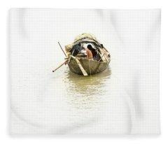 Fishermen On The Lower Ganges Fleece Blanket
