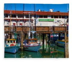 Fishermens Grotto With Wharf Boats Fleece Blanket